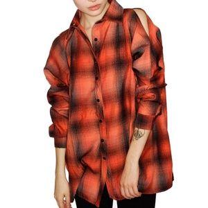 UNIF Bare Shoulders Button Up Shirt Cold Shoulder